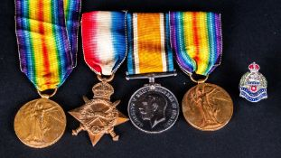 WW1 Medals. Trio Awarded To 200898 SJT W LYNCH E LAN R Comprising 1914-1918 George V War Medal,