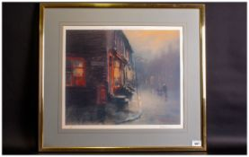Limited Edition Print Pencil Signed By P.Rushland Depicting A Foggy Manchester St Scene published by