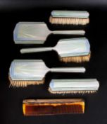 Art Deco Silver and Enamel 6 Piece Ladies Dressing Table Set. Hallmark Birmingham 1936. Boxed and In