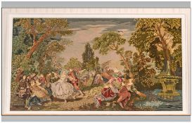 Large White Framed Woolen Tapestry depicting a garden with figures. 42 x 70 inches.