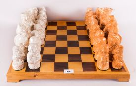 A Handmade Pottery Chess Set In The Tudor Style King 6.75'' in height. Complete With Chess Board.