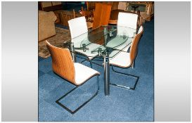 Designer Contemporary Glass Top Dining Table, with Pull Out Flaps on Round Chrome Legs, with Four
