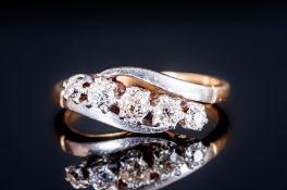 18ct Gold & Platinum Set Five Stone Diamond Ring, Circa 1930's. The diamonds of good colour &