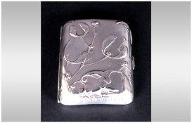 Art Nouveau Ladies Silver Cigarette Case, with Raised Decoration to Cover. Hallmark Chester 1901.