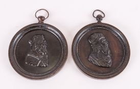 Pair Of French Antique Bronze Roundells/Plaques cast with images of Ancient French Kings, Engraved