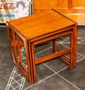 A Good Quality G Plan Type Nest Of Three Contemporary Teak Interlocking Tables, 18'' in height, 18''