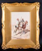 Victorio Rappini Italian Artist 1877-1939. 'Bedouin Chiefs On Horseback' Watercolour Signed, mounted