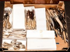 Approximately 200 Pieces Of Silver Plated Cutlery Comprising Dinner, Desert, Fish Knives And