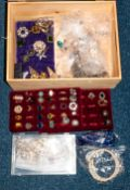 Box Containing A Quantity Of Theatrical Costume Jewellery, Comprising Rings, Brooches, Necklaces,