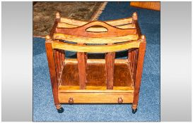 Reproduction Mahogany Canterbury, with Slatted Divisions and Carrying Handle, with One Single