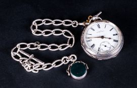Waltham Large Silver Open Faced Key Wind Pocket Watch white porcelain dial. Hallmark Birmingham