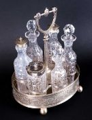 Edwardian- Fine Quality Silver Plated and Glass 6 Piece Cruet Set and Stand. The Ornate Stand with
