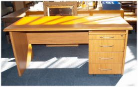 Contemporary Design Office Desk Of Plain Form, Light Beech Effect Finish, Height 29 Inches, 63 x