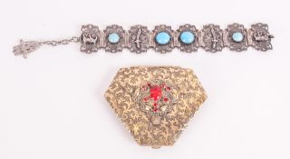 Antique Turkish Silver Bracelet With Figural And Openwork Decoration set with cabochon Turquoise