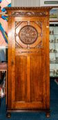 Edwardian Oak Hall Robe with Fitted Mirror Interior, The Central Door Panel with a Round Carved