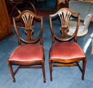 Pair of Sheraton Style Stand Chairs, with Shaped Wheat sheaf Backs, Drop In Seats on Square Tapering