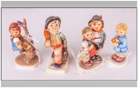 Hummel Early Figures ( 4 ) In Total. 1/ Merry Wanderer. 2/ Tree Girl. 3/ Boy and Girl. 4/ Girl