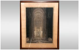 A.C Webb Large Interior Of A Church with high alter, arched ceilings of great height. Charcoal