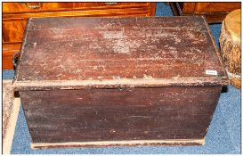 An Antique Pine Bedding Box with Original Scrambled Paint work, with Side Carrying Handles.