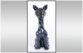Vintage Black Glazed Standing Cat 12'' in height. Probably Italian. Unmarked 1940/50's
