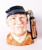 Royal Doulton Character Jug Golfer Style One, D6623 Issued 1971-1995. Designer David Briggs, Good