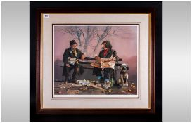 Lawrence Rushton 1919-1994 Artist Signed Ltd Edition Colour Print, Titled ' Tramps on Bench '