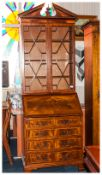 Sheraton Style Mahogany Inlaid Bureau Bookcase of small proportions with an astral glazed top with a