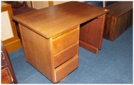 G Plan Style Office Desk Of Plain Form With 3 Short Drawers