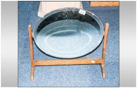 1920's Oak Framed Oval Toilet Mirror on Small Shaped Legs.