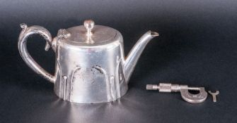 Small Silver Plated Tea Pot with Engraved Crest to the Body ( Imperial ) Alpha, Trade Mark to