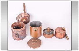 A Military Type Leather Clad Travelling Cooking Set In Copper, with a Cooking Pan with Handle and