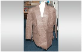 David Conrad Pale Brown Leather Full Length Coat, fully lined. Button Fastening