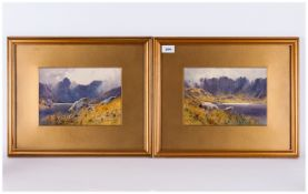 A Pair of Early 20th Century Signed and Dated Watercolours ' Loch Scenes ' Mounted and Framed Behind