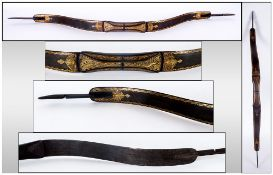 A Rare Indo - Persian Gold Inlaid Damascened Steel Bow. Circa 19th Century, of Typical Form, The