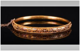 Early Victorian - Fine 15ct Gold Hinged Bangle with Very Fine Raised Decoration and Rope Border.