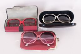 Three Designer Sunglasses comprising French Made Large Lens red glasses, cream coloured glasses  and