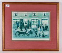 Helen Bradley Pencil Signed Blind Proof Stamp Print, Leeds Road with figures. Framed and Glazed.