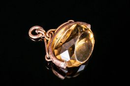 Edwardian Large 9ct Gold Swivel Fob with Large Faceted Citrine, Marked 9.375. 1.5 Inches Wide.