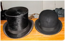 Dunn & Co Hat Makers Bowler Hat together with top hat.