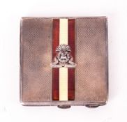Military Interest Ladies Compact Engine Turned Form With Enamelled Strip And Lancashire Fusiliers
