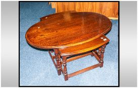 Reproduction Oak Oval Shaped Nest of Three Tables, on Turned Jacobean Type Legs with Cross stretcher