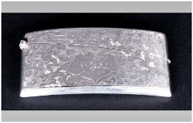 George V - Fine Silver Hinged Case, Elongated Shape, With Chased Decoration to Body. Hallmark