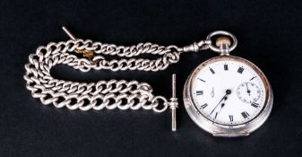 Waltham Silver Open Faced Pocket Watch Attached To A Heavy Double Silver Albert Chain all links