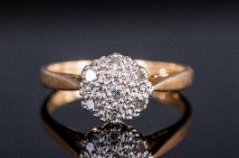 Ladies 18ct Gold Set Diamond Cluster Ring, flowerhead setting. Fully hallmarked. Size O