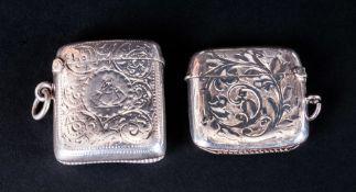 Edwardian Hinged Silver Vesta Cases, 2 in total. Hallmark Birmingham 1913, Hallmark Birmingham 1906.