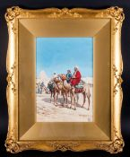 Victorio Rappini Italian Artist 1877-1939. 'Bedouin Arabs Leaving The Desert Encampment'