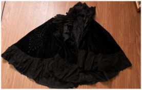Lancashire Type Victorian Cloth Shawl with attached black beads.