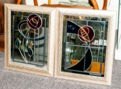 A Very Fine Hand Made Pair of Leaded Glass - Framed Mirrors by Mike Lees. The Design Inspired by