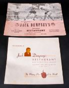 Jack Dempsey World Heavy Weight Boxing Champion Signed Photo & Menu, Taken in the 1960's at Jack