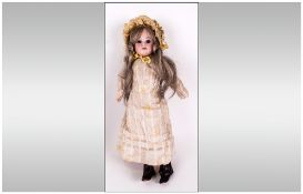Armand Marseille Bisque Headed Doll with Brown Sleeping Eyes, Blonde Wig and Composition Body with
